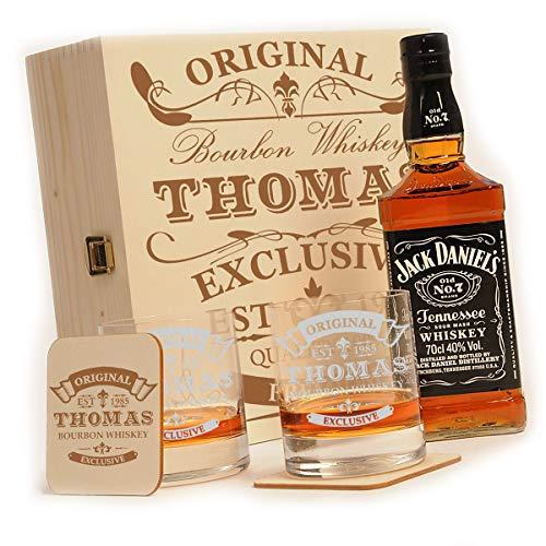 polar-effekt Whisky Geschenkset - 6-Teilig - Deutsche Herstellung - Jack Daniels No.7 Flasche - 2 Untersetzer - 2 Whiskygläser - personalisiert Motiv: Original-Exklusive