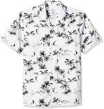 Amazon Brand - 28 Palms Men's Standard-Fit Tropical Hawaiian Shirt, White/Black Scenic, Medium