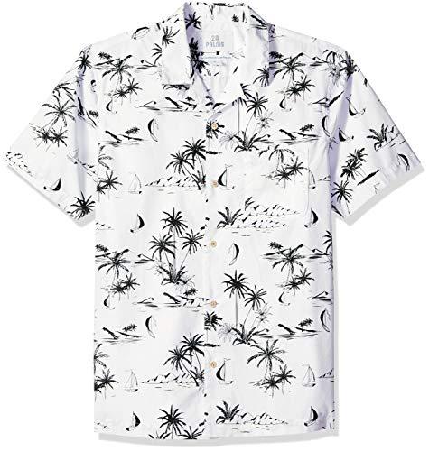 Amazon-Marke: 28 Palms Standard-Fit 100% Cotton Tropical Hawaiian Shirt Hemd, White/Black Scenic, L