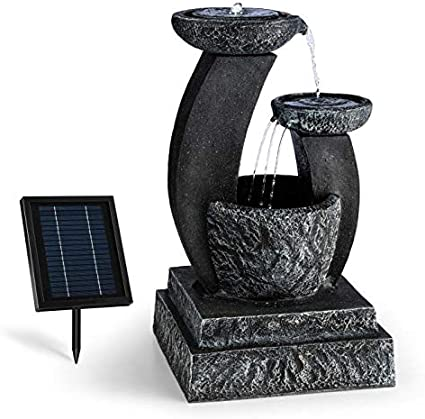 Fontaine Solaire de Jardin Eclairage LED Noir Surface photovolta/ïque de 300 cm/² blumfeldt Zen Garden 200 L//h 8 Heures Batterie Rechargeable de 2000 mAh et Max Look Basalte