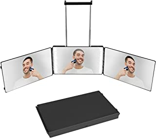 3 Way Mirror for Self Hair Cutting Self Styling,Folding Makeup Mirror with 360° Rechargeable Bright Led Light,Adjustable T...