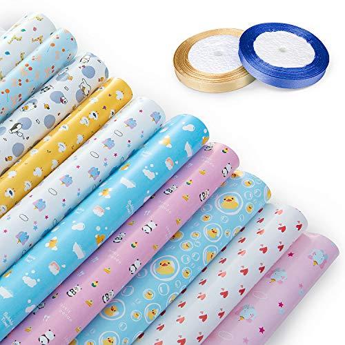 Jolintek Geschenkpapier,10 Bogen Kinder Packungen Geschenkpapier mit 2 Geschenkband- Niedlicher Tierentwurf Geschenkverpackung für Geburtstag Geschenk Baby-Dusche und Party