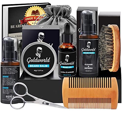Beard Kit,Beard Growth Kit,Beard Grooming Kit w/2 Packs Beard Wash/Shampoo,Beard Growth Oil,Beard Balm,Beard Wash,Brush,Comb,Scissor,Storage Bag,E-Book,Beard Care & Trimming Kit Gifts for Men Him