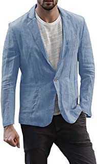 Karlywindow Mens Casual Slim Fit Suits Linen Blazer Jackets Beach Wedding Outfits