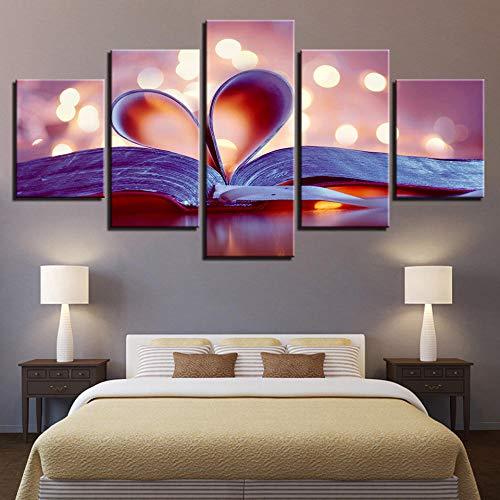 Prodizainas Cuadro en Lienzo Impresiones en HD decoración del hogar 5 Piezas corazón Paisaje Pared Arte Cuadros modulares para Sala de Estar Dormitorio póster artístico