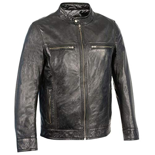 Milwaukee Leather SFM1865 Men's Black Classic Leather Jacket with Zipper Closure - X-Large