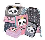 Schulranzen Mädchen Set 5 Teilig - Schultasche ab 1. Klasse - Grundschule Ranzen mit Brustgurt - Ergonomischer Schulrucksack (Panda)