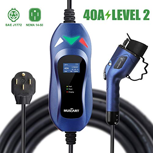 MUSTART 40 Amp Level 2 Portable EV Charger Charging Cable Station, Electric Vehicle Charger Plug-in EV Charging Station with All J1772 EV Cars (240 Volt, 25ft Cable, NEMA 14-50)