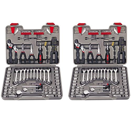 car tools APOLLO TOOLS 95 Piece Mechanics Tool Set with SAE and Metric Socket Sets and Mechanic Tools Needed for Boats, Bikes, Car Maintenance - DT1241 (Two Pack)