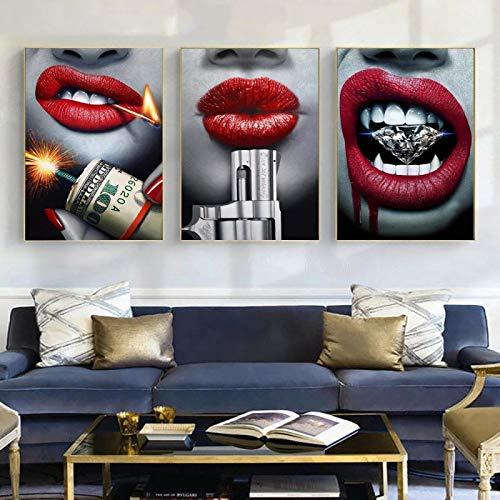 woplmh Leinwandmalerei Blutroter Lippenstift Sexy Lippe Mit Pistole Und Geld Modekunst Modernes Wandplakat Und Drucke Für Raumdekor 30x50cmx3 Rahmenlos