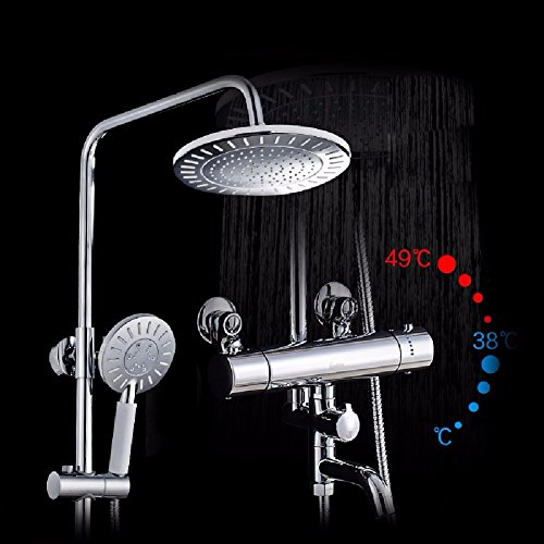 Bijjaladeva Wasserhahn Bad Wasserfall Mischbatterie Waschbecken Waschtisch Armatur für BadezimmerDas thermostatische Duschen Kupfer Smart Kit Thermostat Armatur Bad Dusche Ein