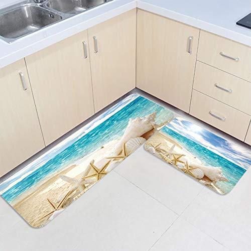 Prime Leader 2 Piece Non-Slip Kitchen Mat Runner Rug Set Doormat Sunshine Ocean Beach Shell Starfish Door Mats Rubber Backing Carpet Indoor Floor Mat(15.7'x23.6'+15.7'x47.2')