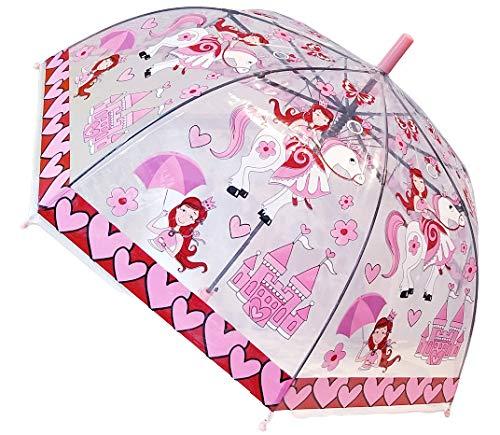 G4G Paraguas Infantil Transparente, Anti Viento, con Dibujos de Animales (Dinosaurios y Alpacas), con Medidas de 47cm. (Rosado)