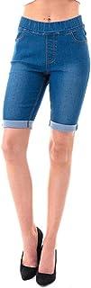Jvini Women's Pull-On Stretchy Cuff Denim Bermuda Shorts with Pockets