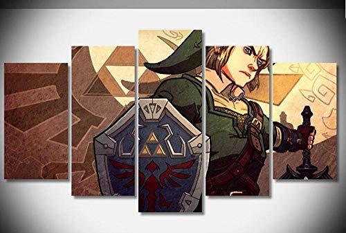 Yftnipl Impresión De 5 Piezas Material Tejido Zelda Link Gaming Imprimir Modern Enmarcado De Madera Estirada Artwork Decoración De Pared Living Room