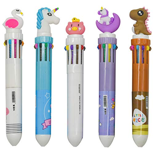 Maydahui 15PCS 10 in 1 Shuttle Pens Cute Retractable Ballpoint Pen Unicorn Dinosaur Pig Flamingo Horse Cartoon Animal Shaped Design for School Kids Office
