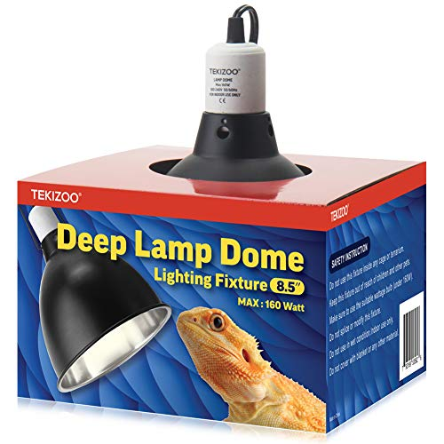 "TEKIZOO Deep Light Dome Reptile Lamp Fixture Aluminum Optical Reflector(8.5"")"