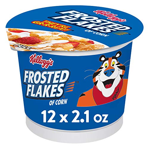 Kellogg's Frosted Flakes, Breakfast Cereal in a Cup, Fat-Free, Bulk Size, 12 Count (Pack of 2, 12.6 oz Trays)