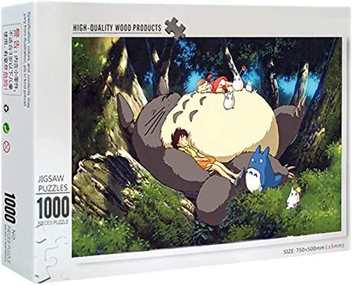 Rompecabezas para Adultos Juego de Puzzle Puzzle de 1000 Piezas de Madera-Totoro Dormido, desafiante estrés Escena Rompecabezas Juego Educativo Alivio de Juguete para Adultos niños