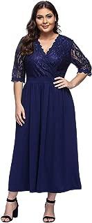 KUREAS Women's Plus Size V-Neckline Floral Lace Top Dress Cocktail Party Swing Dress