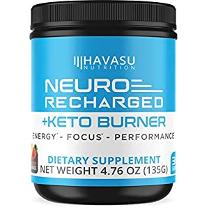 Havasu Nutrition Extra Strength Keto Brain Supplement for Energy & Focus – Mental Performance Nootropic & Pre Workout with Natural Caffeine, Ginkgo Biloba & More – Brain Booster 4.76 oz (135 G)