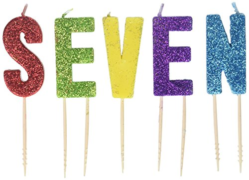 'S-E-V-E-N' Colorful Giltter Birthday Candles| Party Supply