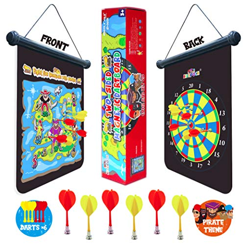 KiDEPOCH Magnetic Dart Board for Kids, Indoor Active Game for Kids, Fantastic Treasure Hunting Adventure with Pirate, 2-Side Roll Up Dartboard with 6 Safe Magnetic Darts in a Gift Box