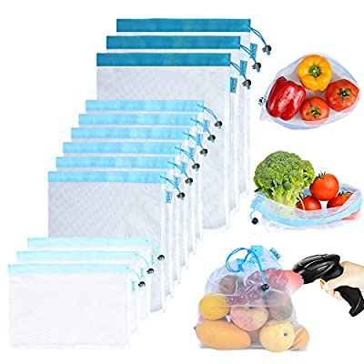 Reusable Mesh/Produce Bags (Lightweight, See-Through by PrettyCare) 12 Pack Double-Stitched Strength Grocery Bags with Tare Weight on Tags for Shopping & Storage of Fruit, Veggies