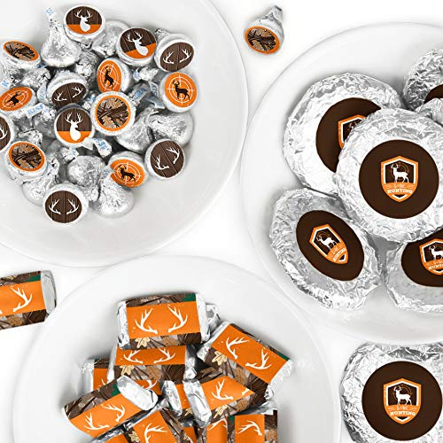 Gone Hunting - Mini Candy Bar Wrappers, Round Candy Stickers and Circle Stickers - Deer Hunting Camo Baby Shower or Birthday Party Candy Favor Sticker Kit - 304 Pieces