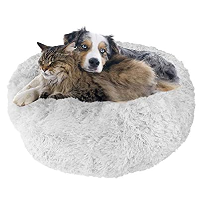 Downtown Pet Supply Premium Donut Dog Bed, Cozy Poof Style Giant Pet Bed Great for Cats & Dogs - Orthopedic, Washable, Durable Dog Bed (Light Grey, X-Large)