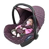 BAMBINIWELT Ersatzbezug für Maxi-Cosi CabrioFix 6-tlg, Bezug für Babyschale, Komplett-Set STERNE BORDEAUX XX