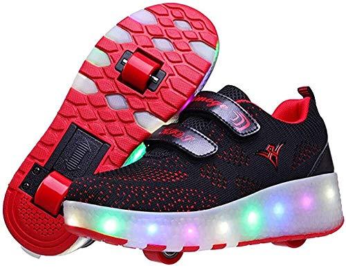 2 in-1-Zapatos de usos Múltiples Roller zapatos del patín led con USB de carga, al aire libre Formadores zapatillas con ruedas dobles, unisex respirable de la red del acoplamiento zapatos, for la much