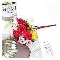 造花 造花シルクローズDIYの結婚式のホームクリスマスの装飾花ローズギフト (Color : 21)