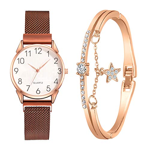 Fenverk Damen Armbanduhr Sailor Line Modest mit Meshband,Geschenk für Frauen Perfect Match - Frauen Geschenk Box Set, Freundin, Mama oder Schwester(C#02)