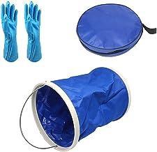 BSTQC Juego de limpieza para piscina, 3 unidades, incluye guantes, cubo de agua plegable, bolsa de almacenamiento, accesorios para limpieza de bañeras