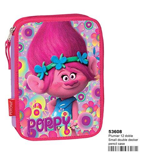 Montichelvo nbsp;- Astuccio doppio, motivo personaggio Trolls (Poppy), colore fucsia, rosa