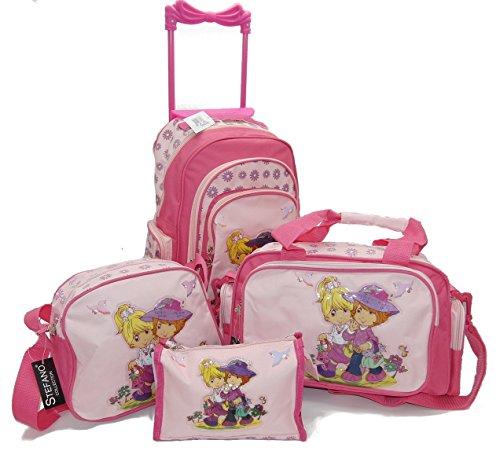 STEFANO Kinder Reisegepäck Feuerwehr blau oder Girls pink (M2 4tlg. Set)