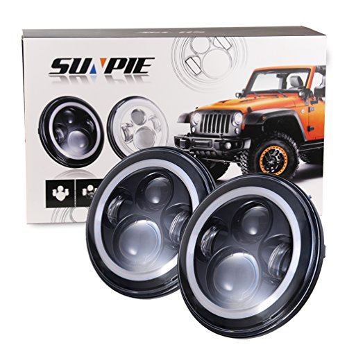 7' LED Headlights Bulb with White Halo Angel Eye Ring DRL & Amber Turn Signal Lights for Jeep...