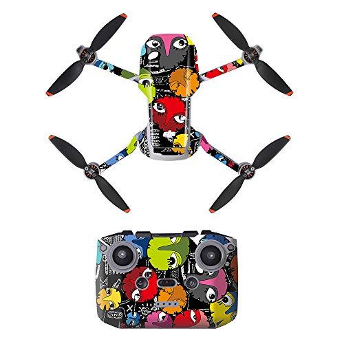 Linghuang - Adesivo decorativo in PVC, set di dealcomanie di telecomando e drone per DJI Mavic Mini 2 Drone impermeabile, accessori di protezione antigraffio (tipo 2)