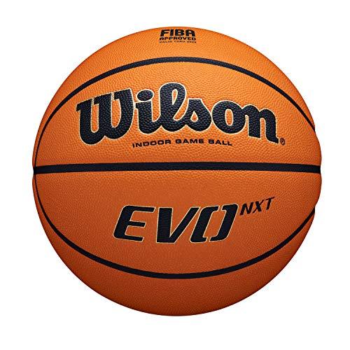 Wilson Pelota de Baloncesto EVO NXT Fiba Game Ball, Cuero Compuesto, Adecuado para Interiores, Talla 7, Marrón, WTB0965XB
