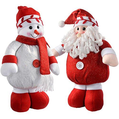 WeRChristmas in piedi Babbo Natale e pupazzo di neve colore: Rosso/Bianco, set di 2, Tessuto,...