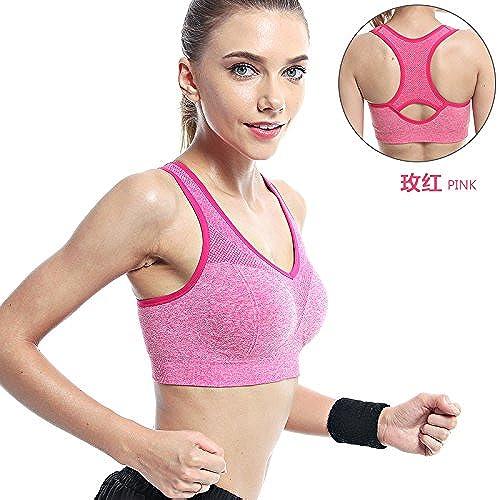 ZHUDJ Les Particules d'un Soucravaten-Gorge De Sport Porteur De Rembourrage pour Yoga Vest Pas l'anneau d'acier De L'été Sports Bra, Mieux,70C Rouge