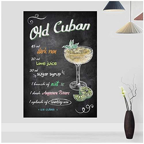 Mulmf Bar De Cócteles Cubanos Antiguos Bebidas Y Cócteles Signos Cartel Retro Lienzo Impresión Bar Decoración Pared Arte Decoración- 50X70 Cm Sin Marco