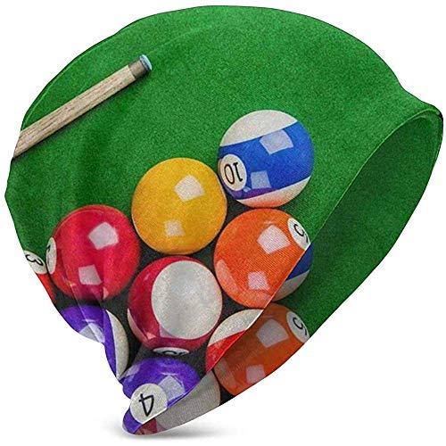 Jeffrey Toynbee Billard Balls mit Billard Queue Snooker Pool Game Basic Long Beanie Mütze Cap Double Layers Stricken