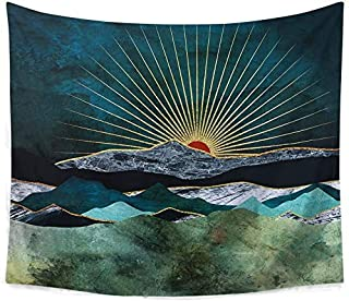 Mountain Sunrise Tapestry Decor Burning Sunset Tapestry Nature Landscape Abstract Art Wall Hanging Tapestries for Living Room Bedroom (59 x 51 inch)