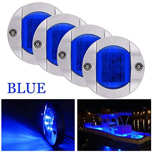 Bkinsety 4 pezzi 12V Wasserdicht Boot Licht LED Navigationslicht Hecklicht Ankerlicht für Boot Marine Yacht (Blau)