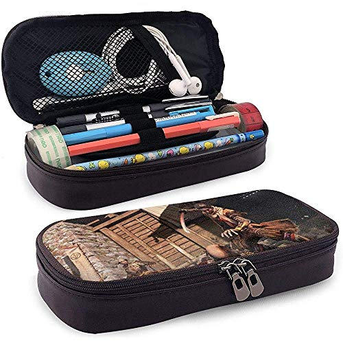 Mode SEKIRO: Shadows Die Twice Leather Pencil Case Makeup Cosmetic Bag for Unisex One Size Black 20 * 9 * 4cm