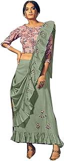 Indian Cotton Stylish Casual Formal Occasion Draped Skirt Dress Top Muslim Kaftaan Hizaab Suit Set 903/E