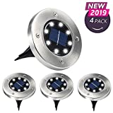 Aogist Solar Ground Lights,Solar Powered Disk LightsWaterproof Garden Pathway Outdoor In-Ground Lights for Yard,Deck,Lawn,Patio and Walkway,White (4 Pack) (White)