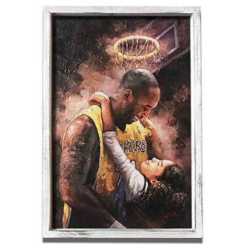 Kobe Bryant and Gigi Wall Art Canvas Painting Framed - Print Picture Lakers Mamba Focus Mentality NBA Artwork 16X24 inch for Fans
